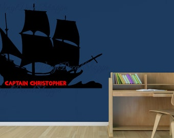 Nautical Theme Boys Room, Pirate Ship Decal, Custom Pirate Ship, Boys Room Decal, Pirates Decal, Pirate Theme, Custom Wall Decal, Boys Room