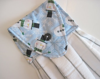 Hanging kitchen towel  button top winter snowman snowflakes  cotton  top White towel Quiltsy handmade