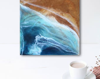 """Aerial Ocean Resin Painting 