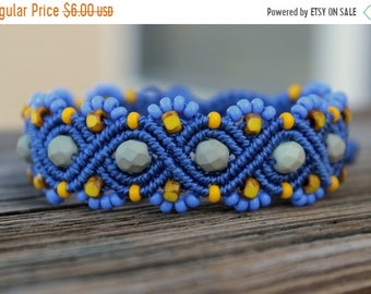 SALE REDUCED Micro-Macrame Beaded Bracelet - Blue, Yellow, Grey
