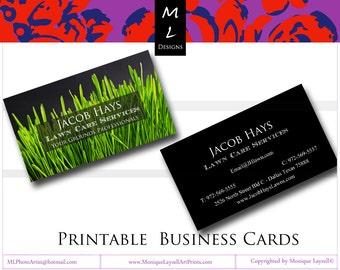 Green Grass  Garden landscaping  background  Printable Business Card