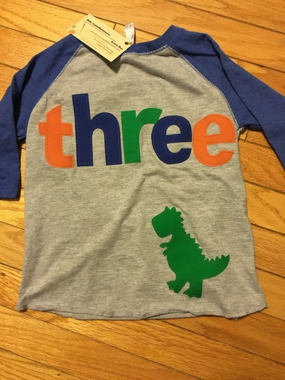 Three dinosaur t rex birthday raglan, boys dinosaur birthday shirt, 3rd birthday, raglan shirt orange blue green, dino dig, roar party