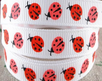 Ribbon grosgrain printed * 10 mm * Ladybug red and pink - sold by the yard