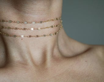 Bahati 14K Gold Filled Choker Necklace - Gold Chain Choker Necklace - Layered Choker Necklace - Gold Necklace - Sterling Silver Necklace