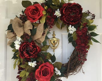 Red Peony, Red Rose Grapevine Wreath, Burlap Bow Wreath, Spring Summer Wreath, Front Door Wreath, Natural Wreath, Home Decor Wreath,