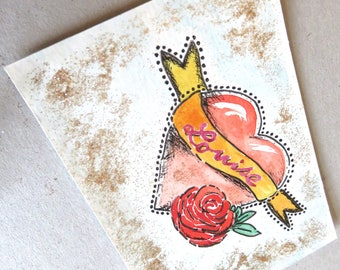 Card, birthday, first name, louise, vintage, tattoo, heart, sequins,