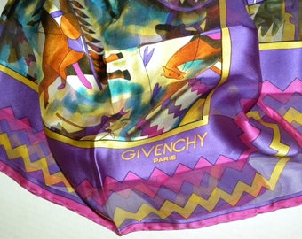 """Vintage Givenchy Silk Scarf / Purple Multi Color Native American Horses Design / Large 35.5"""" x 34"""""""