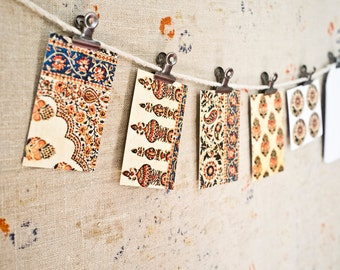 Vintage Indian Block Print Mini Card Set - SET of EIGHT Gift Tags - Stationery Set - Gift Tag - Hostess Gift - Place Cards - Gift Under 20
