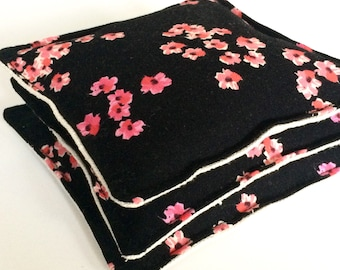 Black lavender sachets with linen backing, set of three