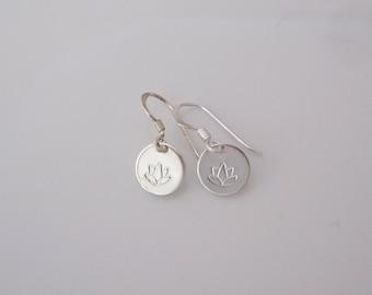 LOTUS FLOWER coin sterling silver dangle earrings, yoga earrings