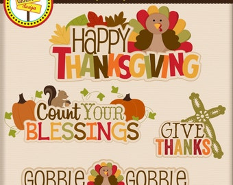 Thanksgiving Words - Thanksgiving Word Art - Cute Digital Clipart - Personal and Commercial Use - Card Design, Scrapbooking, and Web Design