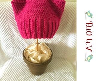Pussyhat Women's Rights Crochet Hat