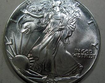 1987 silver American Eagle (#E413a)