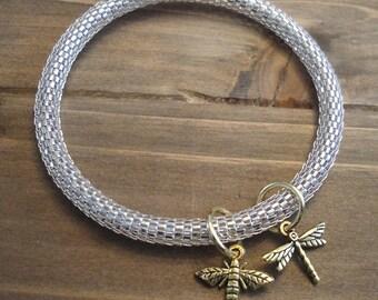 Bangle Charm Bracelet, bee charm, dragonfly charm, gold charm, insect charm bracelet, insect charm bangle, dragonfly bangle, bee bangle