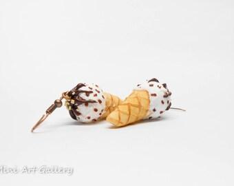 Vanilla Chocolate ice-cream earrings / ice cream scoop cone / kawaii earrings / mini food jewelry charm / handmade polymer clay miniature