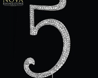 "Crystal Rhinestone Silver Number ""5"" Monogram Wedding Anniversary Cake Topper, Large"