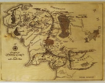 Middle Earth Map Wood Engraving Art - Lord of the Rings LOTR