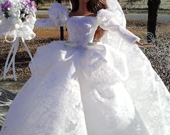 """11.5"""" doll wedding dress, fashion doll clothes, fashion doll clothing, fashion doll dress, doll clothes, doll dress, 11.5"""" doll dress"""