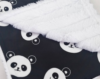 Personalized Black & White Panda Minky Baby Blanket - Made to Order