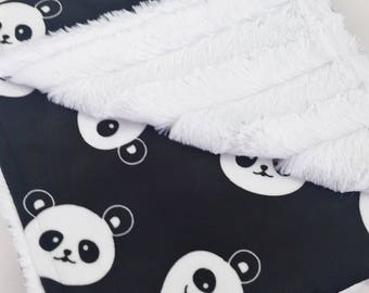 Black & White Panda Minky Baby Blanket - Gender Neutral - Made to Order