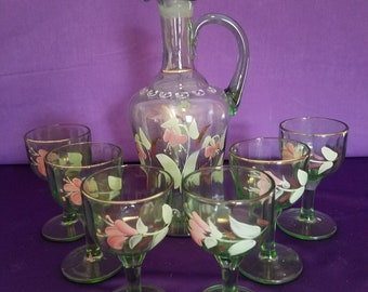 Pretty Hand Painted Decanter with Footed Glasses