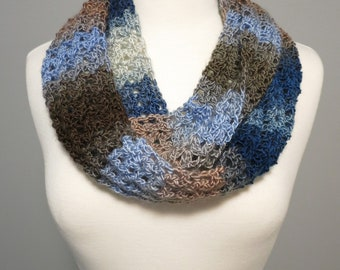 Crochet Infinity Scarf in Blue and Brown
