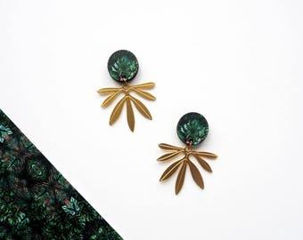 Palm Drop Earrings, Palm Leaf, Gold Earrings, Modern Earrings, Botanical Earrings, Leaf Drop Earrings, Statement Earrings, Gold Leaf