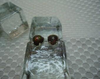 Cleftless Heart Cabochon Ethiopian Fire Opal Earrings in Sterling Silver  #2086