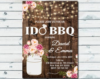 I Do BBQ, I do bbq Invites, Rustic I do bbq Invitation, Couples Shower Engagement Party, I Do Bbq Invitation Printable, Flower Invite 1046