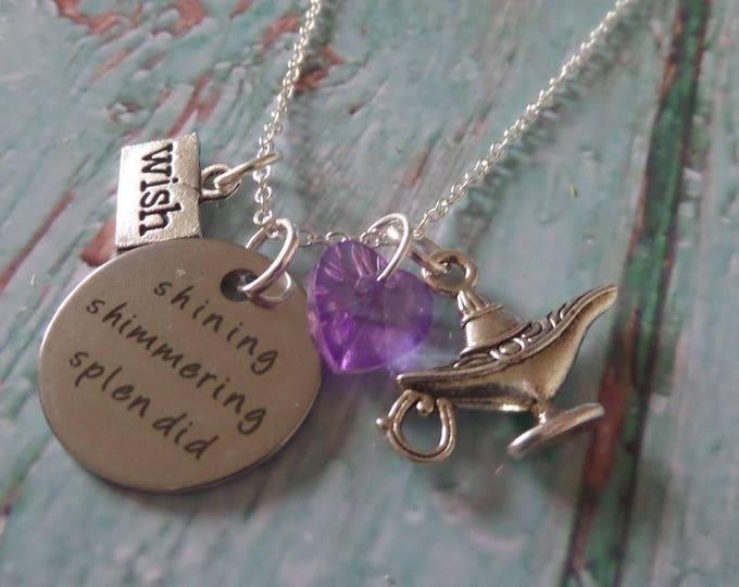 Aladdin inspired 20mm tag shimmering shining splendid Princess Jasmine  silver tone charm necklace