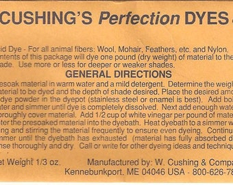"Granite NEW ACID DYE from  W. Cushing & Co ""Perfection"" Acid Dye, 1/3 ounce package"