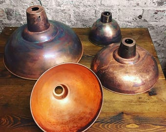 Retro Industrial Copper Lampshade | Rustic Vintage Style Metal Factory Lamp  Shade