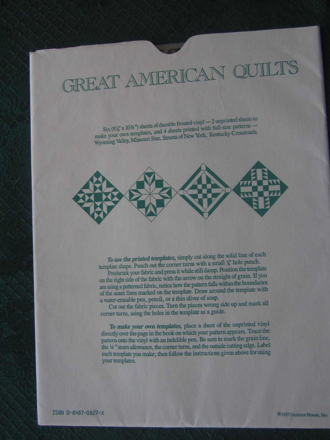 American Quilt Templates (set of 4 quilt patterns) from ...