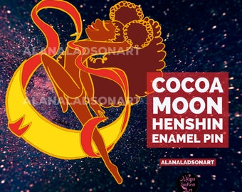 Cocoa Moon Henshin Transformation Enamel Pin // Sailor Moon Magical Girl Brooch // Mahou Shojo Cute Pin