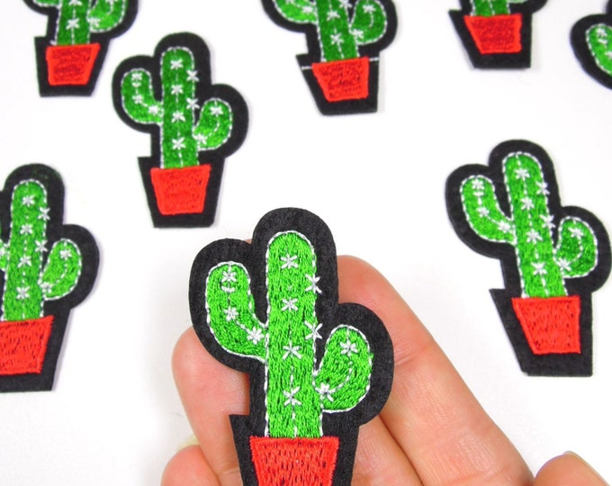 Cactus iron on patch, Small cactus patch, Small green patch, Cactus applique