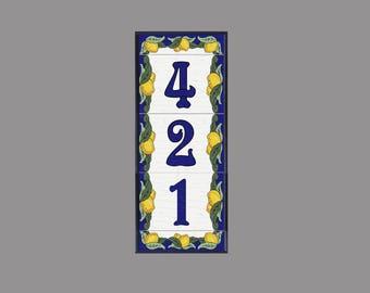 House Numbers, Address Tiles, Framed Set, Italian Limoni Design, Lemons, House Sign, Custom House Plaque, Vertical Installation