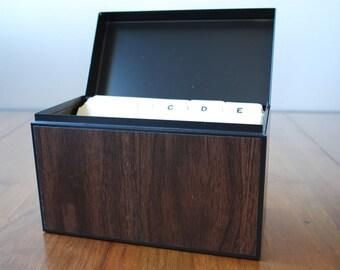 Vintage Medium Walnut Woodgrain Globe - Weis  Metal Card File Box  - Urban Industrial - Organization