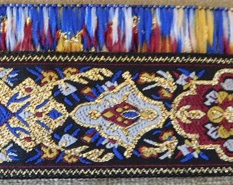 "Metallic Jacquard Ribbon Trim | 1-1/16"" Inch Woven Jacquard Ribbon | Renaissance Fair Costume Trim~Gold~Red-Navy~white~mustard"