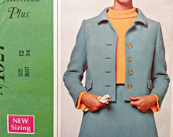 Vintage McCall's 1027 Sewing Pattern, New York Designers' Originala, 1960s Suit Pattern, Bust 34, A Line Skirt Pattern, Cropped Jacket