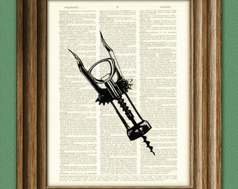 Wine bottle opener cork print over an upcycled vintage dictionary page book art