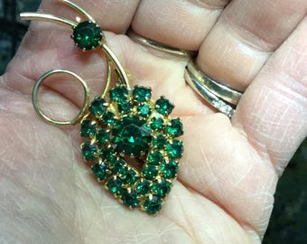 Green Rhinestoned vintage  brooch