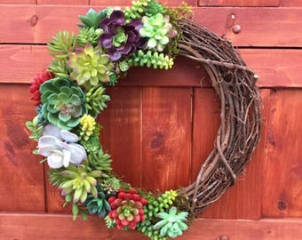 Succulent Wreath, Artificial Succulent Wreath, Spring Wreath, Faux Succulents, Wedding Decor, Front Door Wreath, Year Round Wreath, Rustic