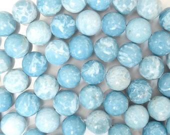 """10mm blue larimar quartz round beads 15.5"""" strand S1 38110"""