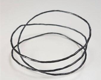 Oxidised Silver Triple Twig Bangle