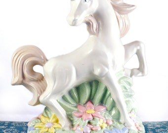 SALE Retro/Vintage 1980s Rainbow pastel white unicorn - gold horn statue '80s