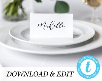 Place card Template Printable Wedding Place Cards Wedding Place Cards Templett, simple elegant Editable Pdf DIY Place cards Instant Download