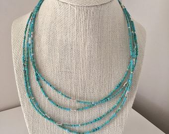 Wear 3 Ways, Turquoise Seed Bead Necklace