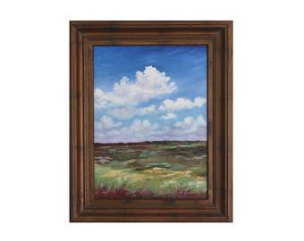 ORIGINAL OIL PAINTING 16x12 Paynes Prairie Florida Landscape Art