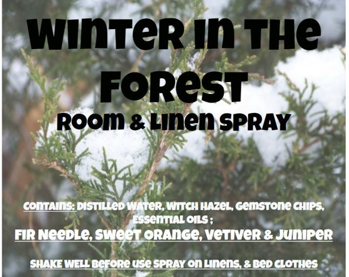 Winter in the Forest Odor Neutralizer Room and Fabric Spray wntr044 with Fir Needle, Sweet Orange, Vetiver, Juniper & Vanilla Gemstone chips