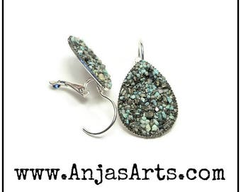 XL Turquoise & Pyrite Teardrop Lever Back Earrings Silver Tone Earrings